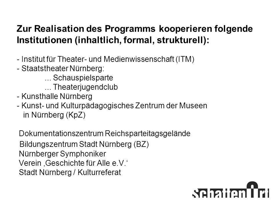 Zur Realisation des Programms kooperieren folgende Institutionen (inhaltlich, formal, strukturell): - Institut für Theater- und Medienwissenschaft (ITM) - Staatstheater Nürnberg: ...