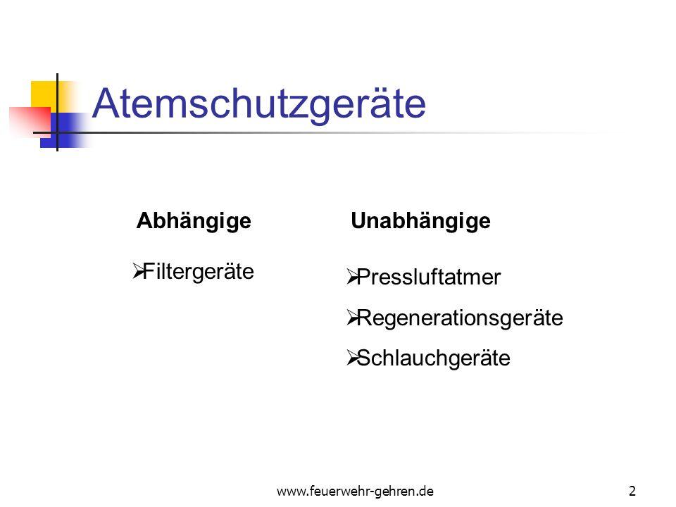 Atemschutzgeräte Abhängige Unabhängige Filtergeräte Pressluftatmer
