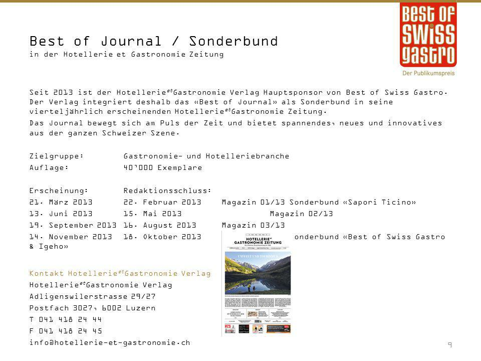 Best of Journal / Sonderbund in der Hotellerie et Gastronomie Zeitung