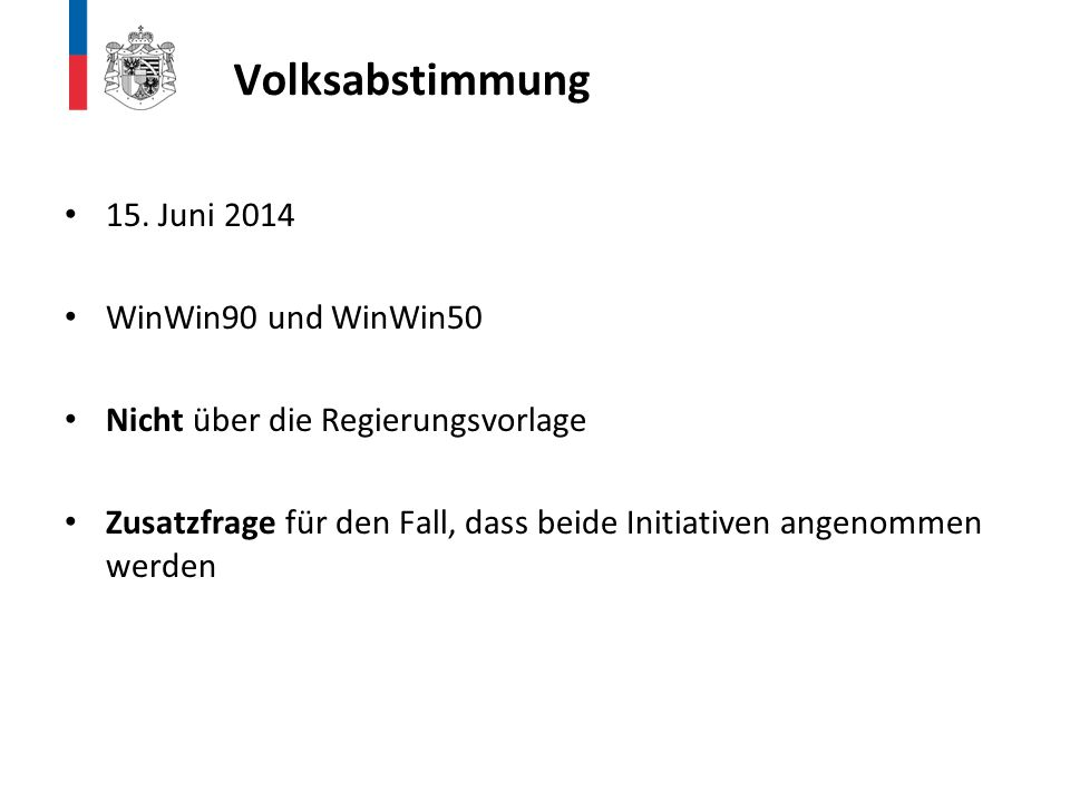 Volksabstimmung 15. Juni 2014 WinWin90 und WinWin50