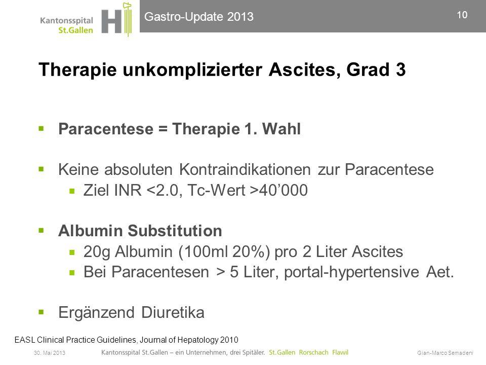 Therapie unkomplizierter Ascites, Grad 3
