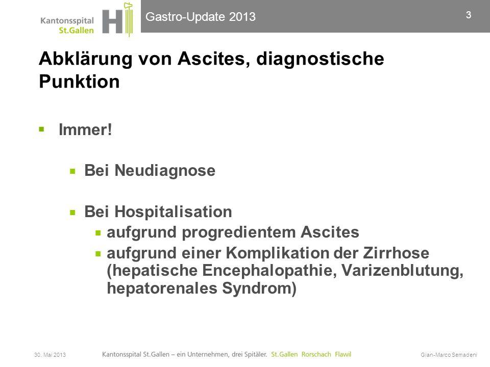 Abklärung von Ascites, diagnostische Punktion