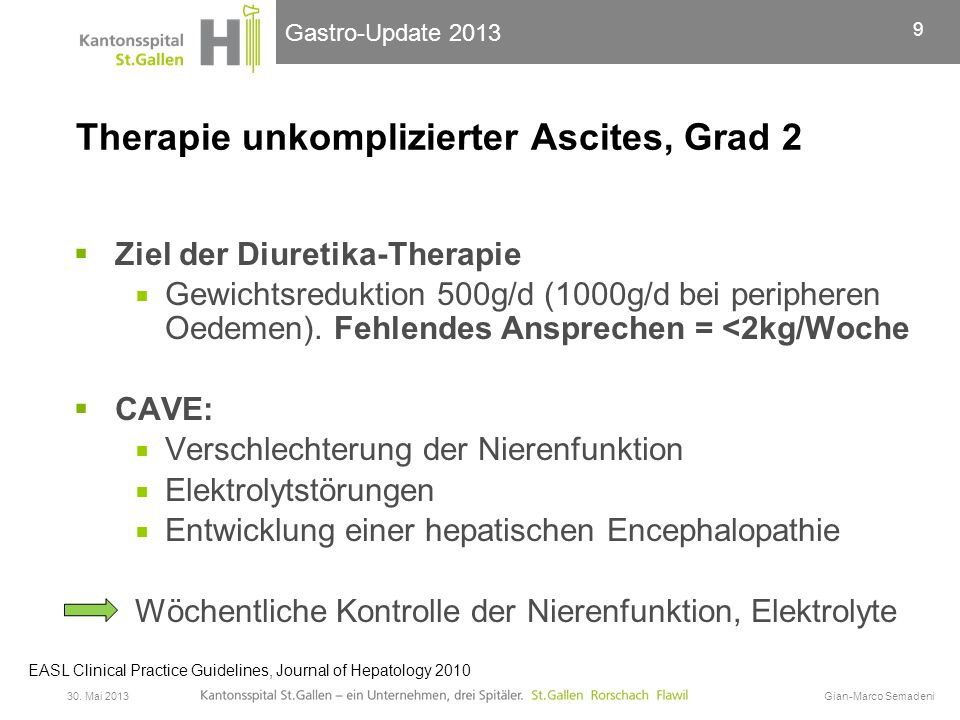 Therapie unkomplizierter Ascites, Grad 2