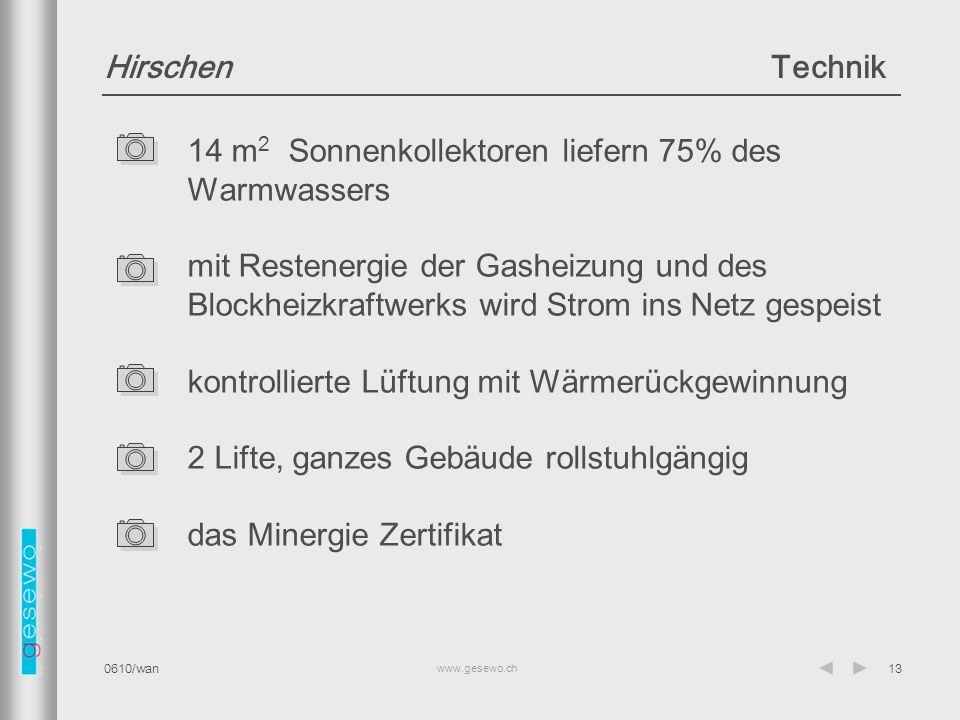 14 m2 Sonnenkollektoren liefern 75% des Warmwassers