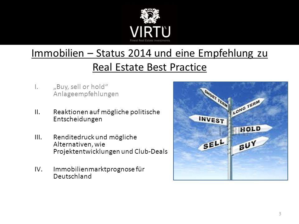 """Kurzvorstellung Immobilien – Status 2014 und eine Empfehlung zu Real Estate Best Practice. """"Buy, sell or hold Anlageempfehlungen."""
