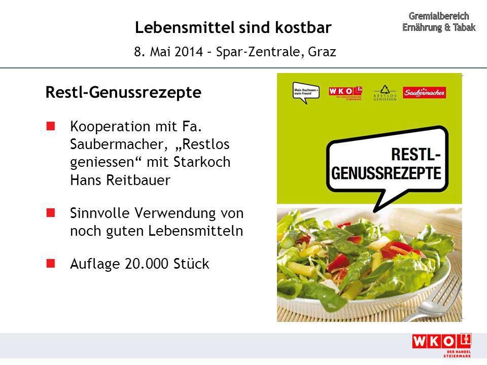 """Restl-Genussrezepte Kooperation mit Fa. Saubermacher, """"Restlos geniessen mit Starkoch Hans Reitbauer."""