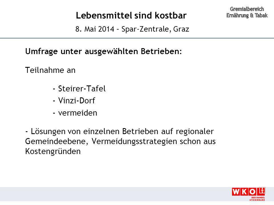 Umfrage unter ausgewählten Betrieben: Teilnahme an - Steirer-Tafel - Vinzi-Dorf - vermeiden - Lösungen von einzelnen Betrieben auf regionaler Gemeindeebene, Vermeidungsstrategien schon aus Kostengründen