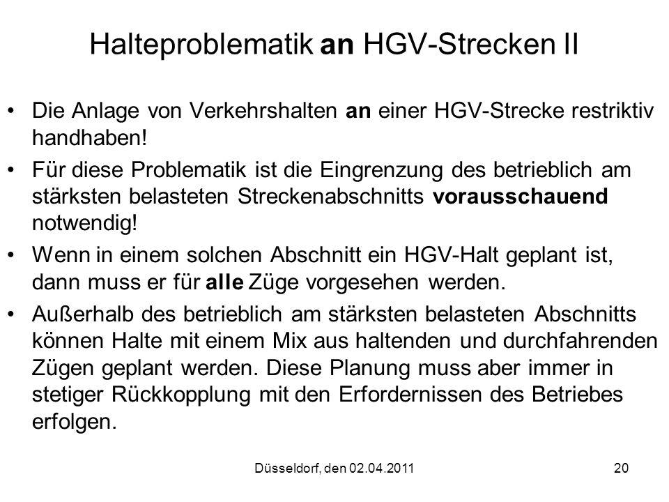 Halteproblematik an HGV-Strecken II