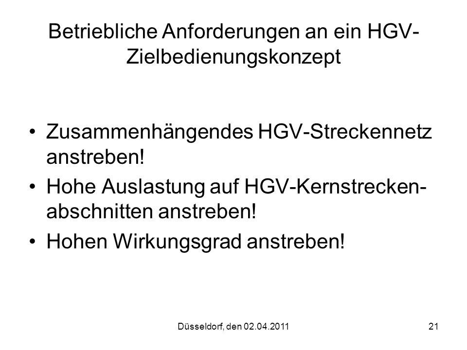 Betriebliche Anforderungen an ein HGV-Zielbedienungskonzept