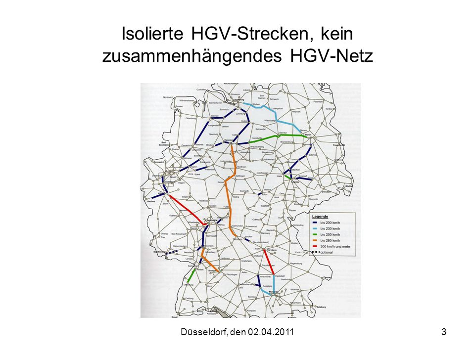 Isolierte HGV-Strecken, kein zusammenhängendes HGV-Netz