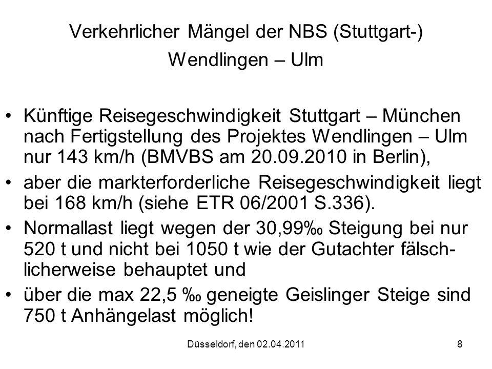 Verkehrlicher Mängel der NBS (Stuttgart-) Wendlingen – Ulm