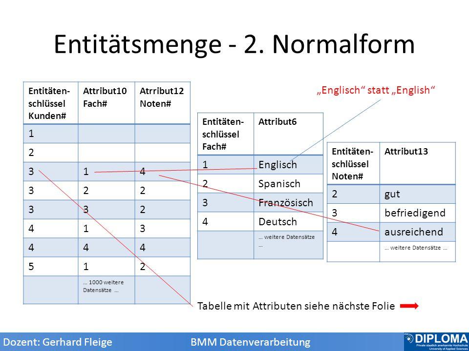 Entitätsmenge - 2. Normalform
