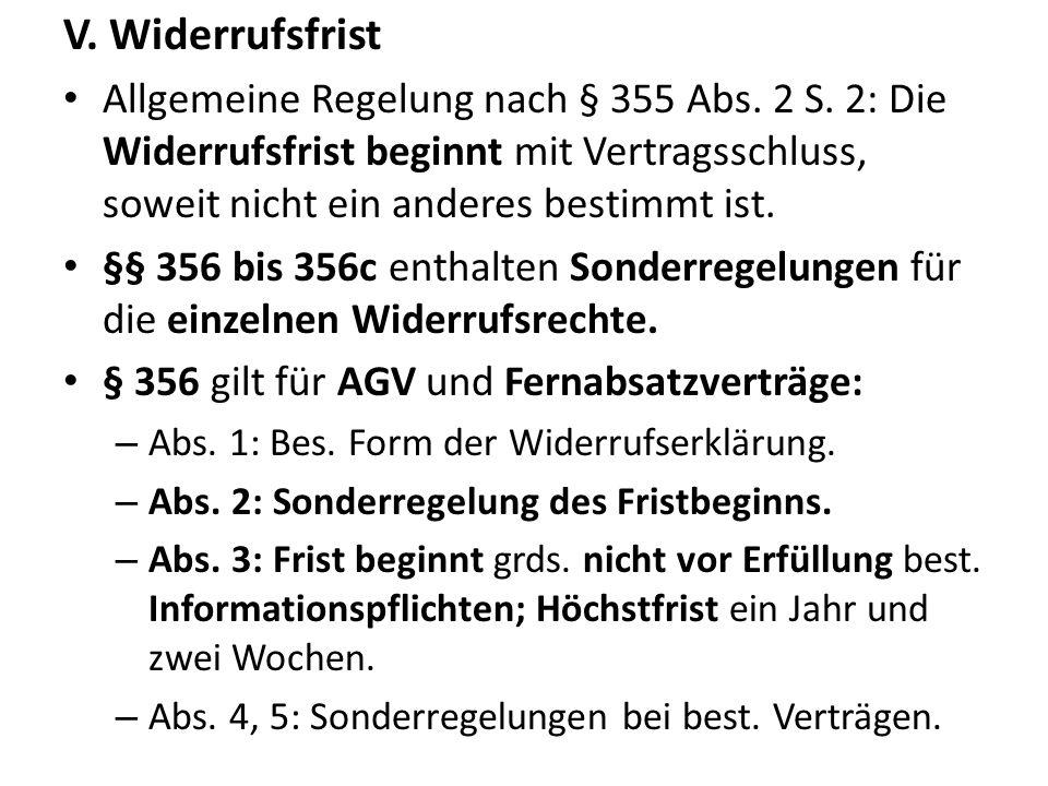 V. Widerrufsfrist Allgemeine Regelung nach § 355 Abs. 2 S. 2: Die Widerrufsfrist beginnt mit Vertragsschluss, soweit nicht ein anderes bestimmt ist.