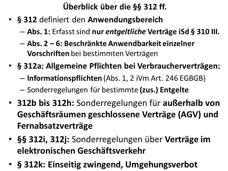 Überblick über die §§ 312 ff.