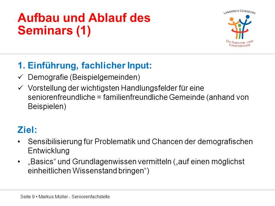 Aufbau und Ablauf des Seminars (1)