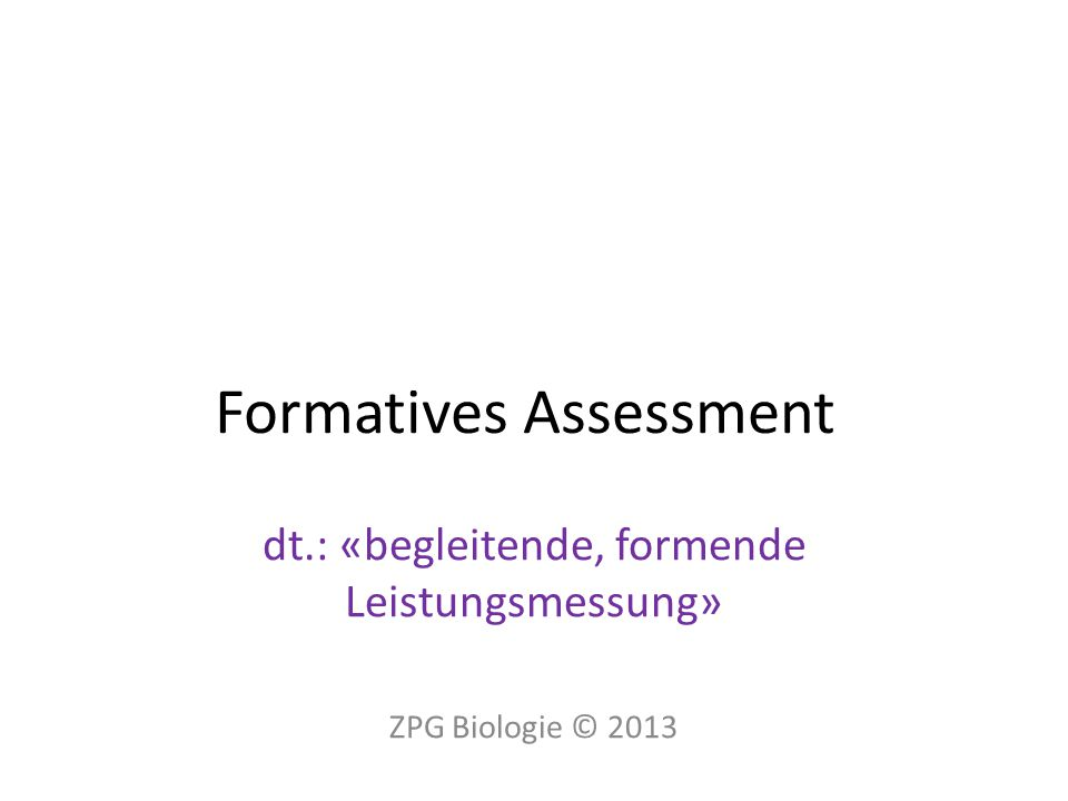 Formatives Assessment