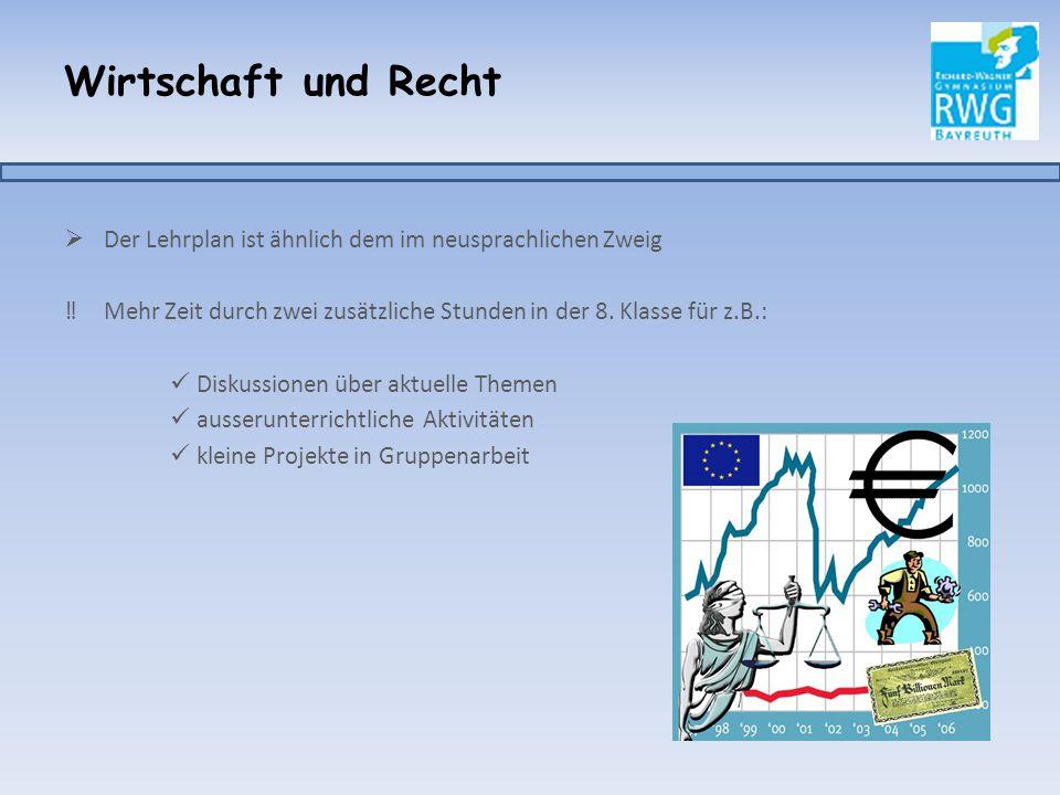 Wirtschaft und Recht Der Lehrplan ist ähnlich dem im neusprachlichen Zweig. Mehr Zeit durch zwei zusätzliche Stunden in der 8. Klasse für z.B.: