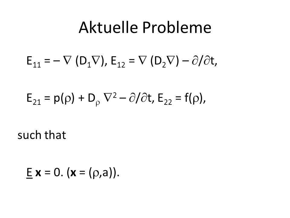 Aktuelle Probleme E11 = –  (D1), E12 =  (D2) – /t, E21 = p() + D 2 – /t, E22 = f(), such that E x = 0.