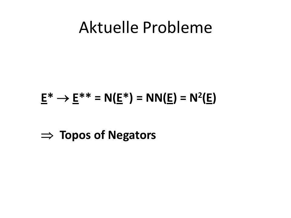 Aktuelle Probleme E*  E** = N(E*) = NN(E) = N2(E)  Topos of Negators