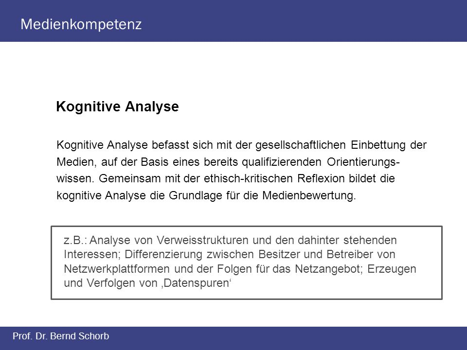 Medienkompetenz Kognitive Analyse