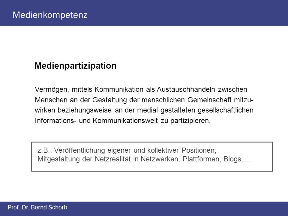 Medienkompetenz Medienpartizipation