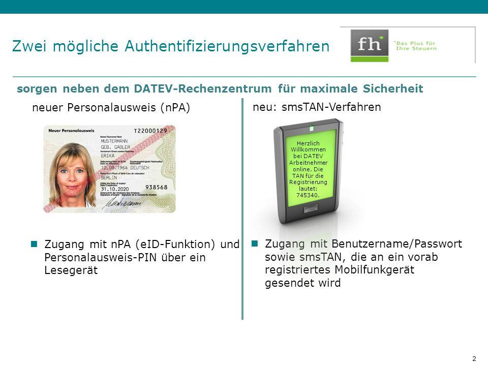 Zwei mögliche Authentifizierungsverfahren