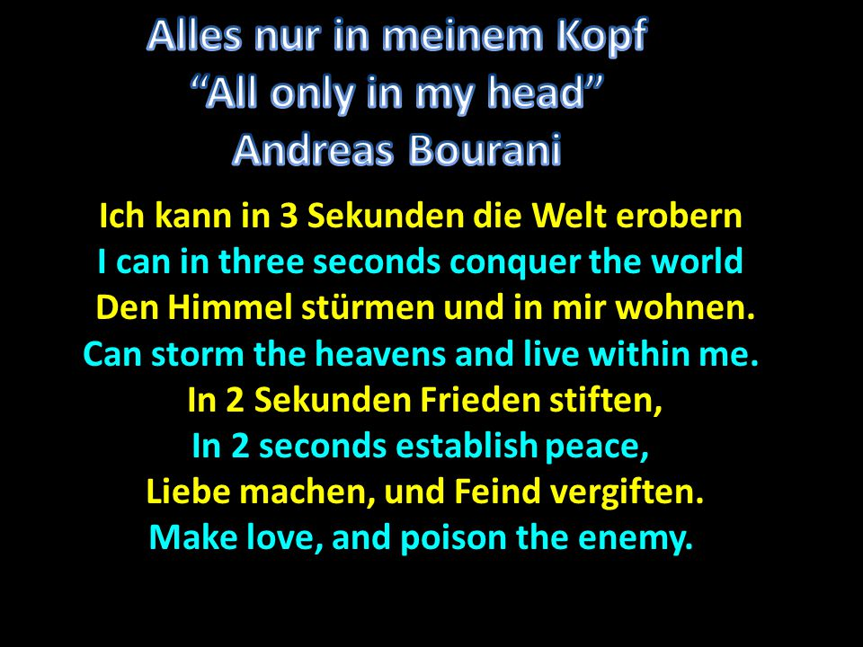 Alles nur in meinem Kopf All only in my head Andreas Bourani
