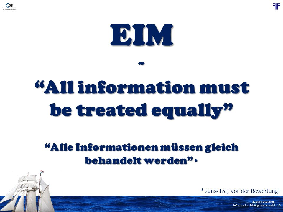 EIM All information must be treated equally ~