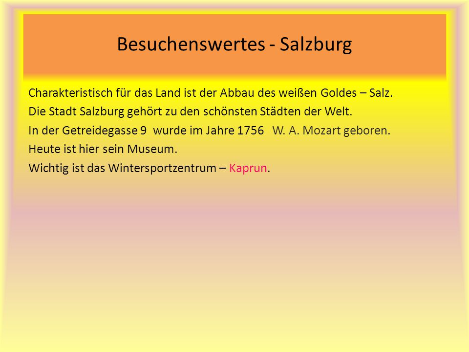 Besuchenswertes - Salzburg