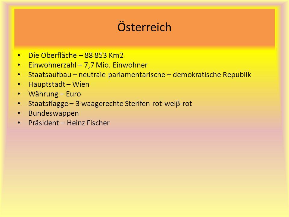 Österreich Die Oberfläche – 88 853 Km2