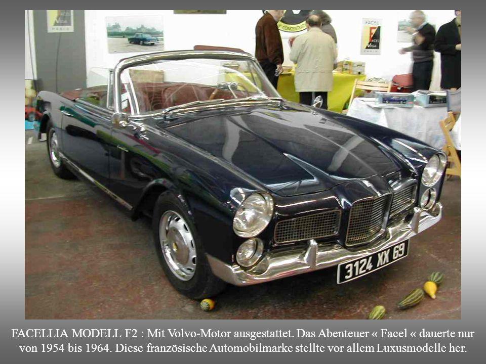 FACELLIA MODELL F2 : Mit Volvo-Motor ausgestattet