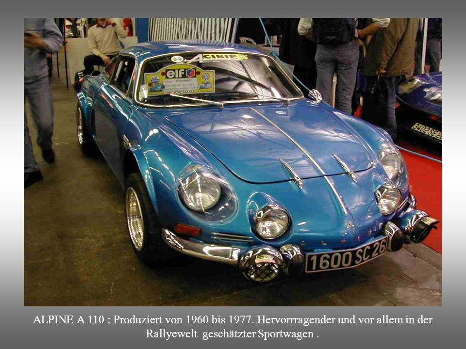 ALPINE A 110 : Produziert von 1960 bis 1977