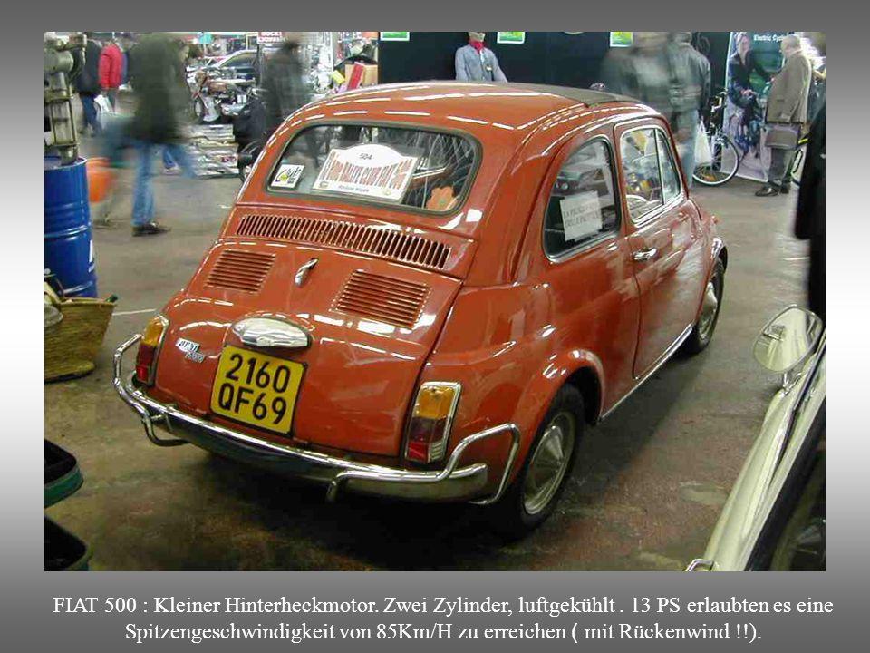 FIAT 500 : Kleiner Hinterheckmotor. Zwei Zylinder, luftgekühlt