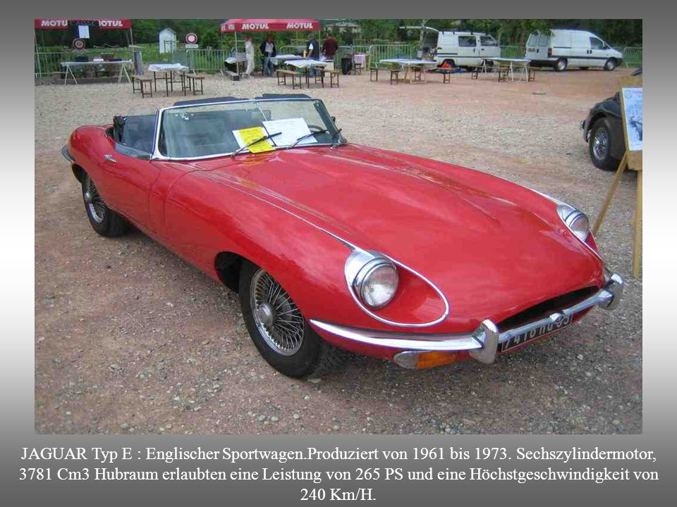 JAGUAR Typ E : Englischer Sportwagen. Produziert von 1961 bis 1973