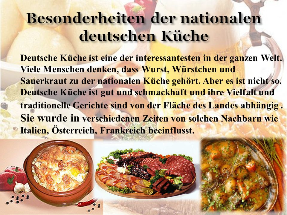 Besonderheiten der nationalen deutschen Küche