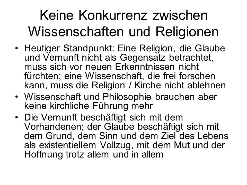 Keine Konkurrenz zwischen Wissenschaften und Religionen