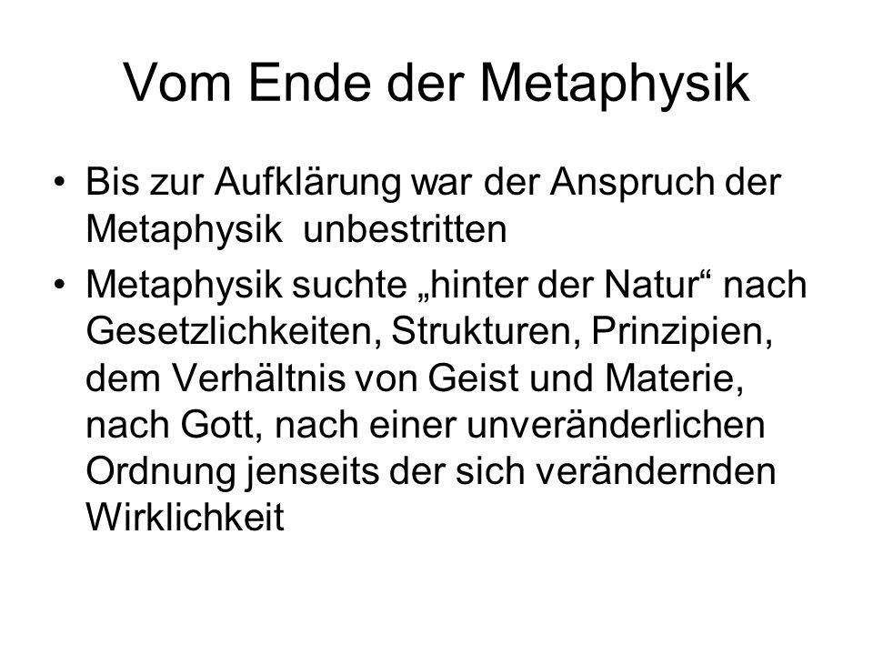 Vom Ende der Metaphysik