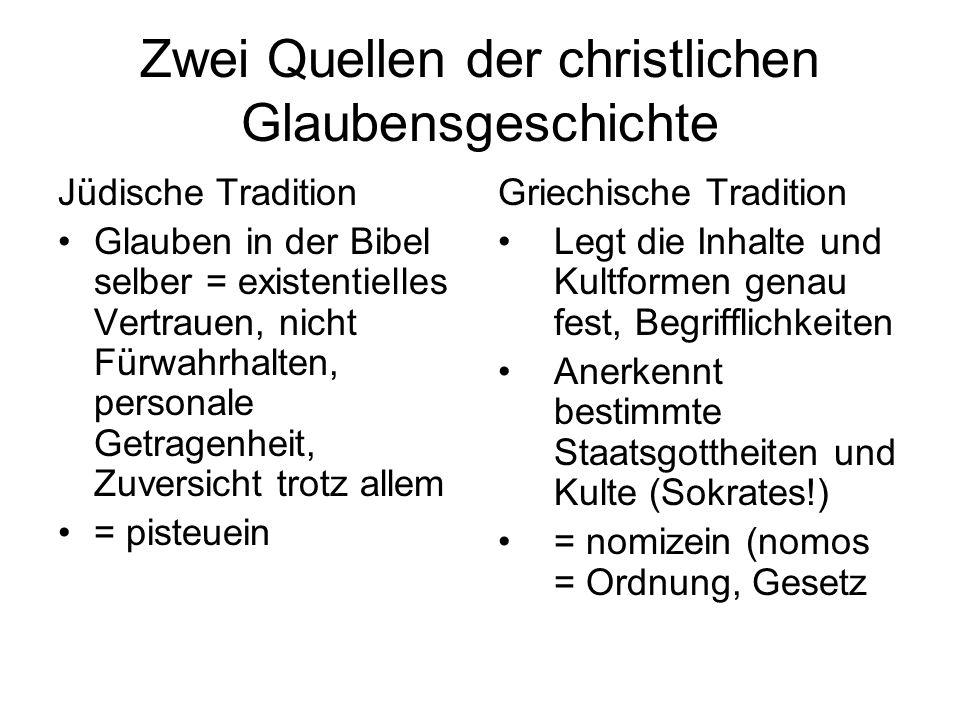 Zwei Quellen der christlichen Glaubensgeschichte