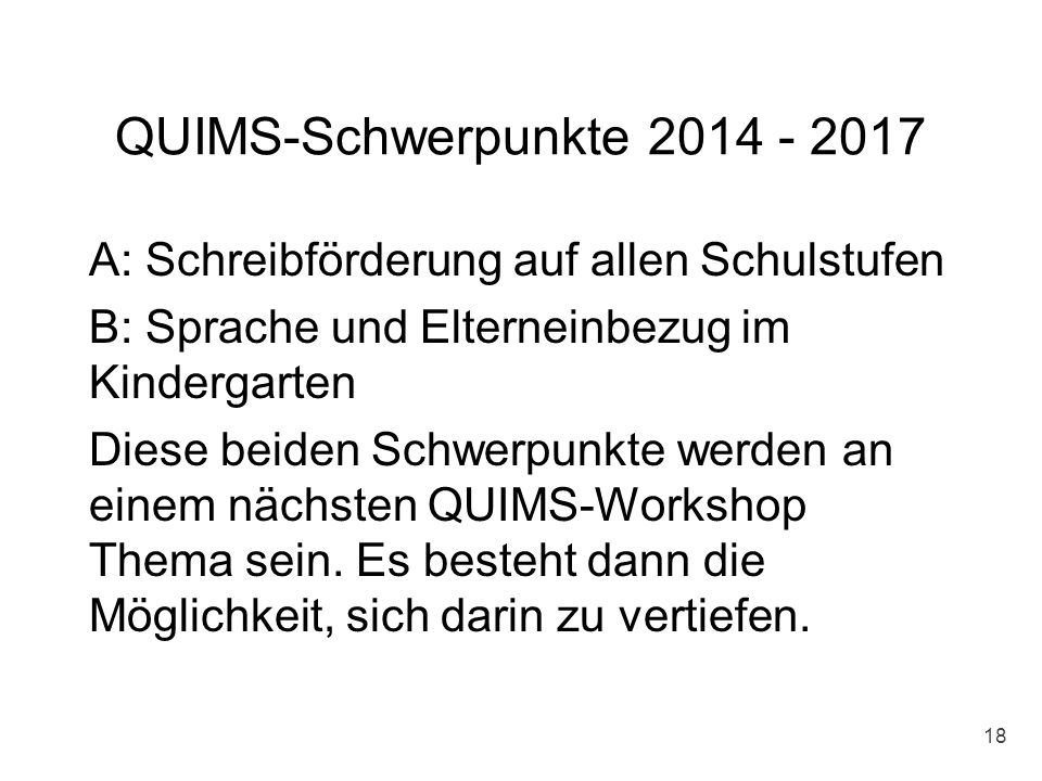 QUIMS-Schwerpunkte 2014 - 2017