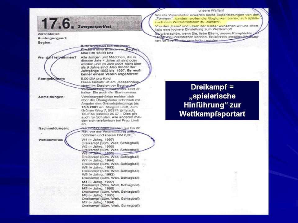 """Dreikampf = """"spielerische Hinführung zur Wettkampfsportart"""