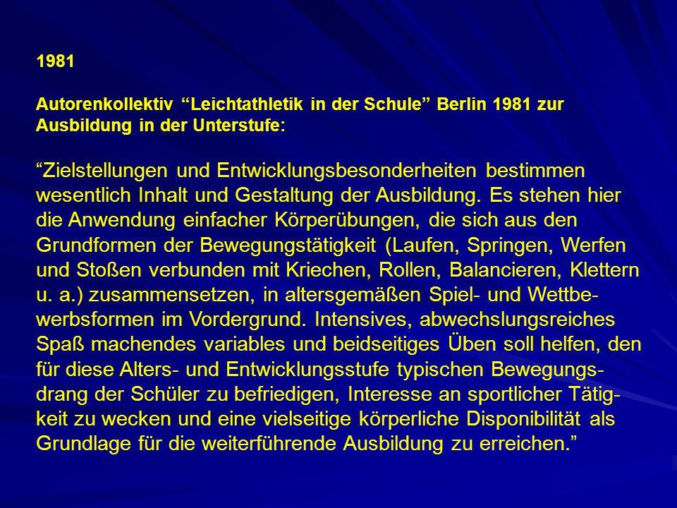 1981. Autorenkollektiv Leichtathletik in der Schule Berlin 1981 zur Ausbildung in der Unterstufe: