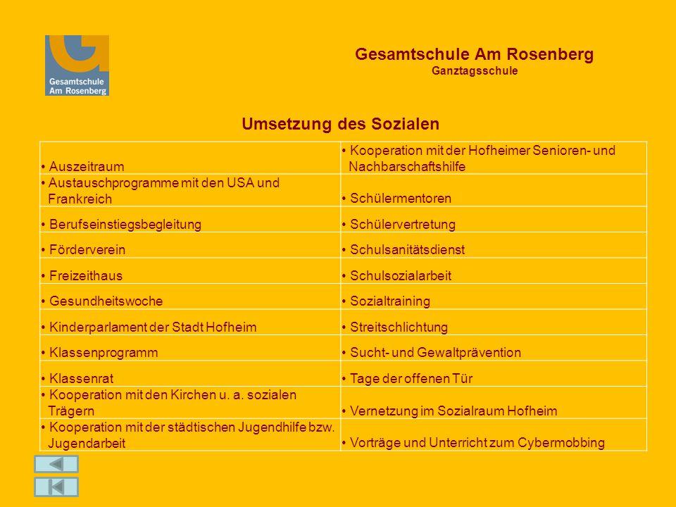 Gesamtschule Am Rosenberg Ganztagsschule Umsetzung des Sozialen