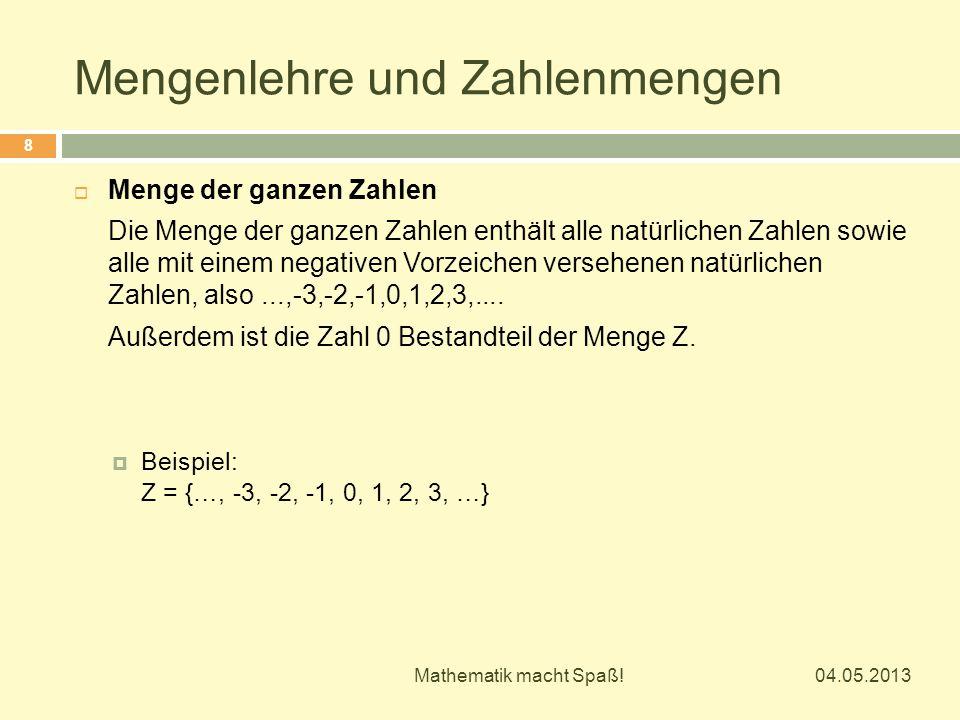 Mengenlehre und Zahlenmengen