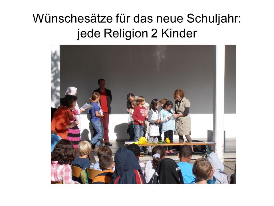 Wünschesätze für das neue Schuljahr: jede Religion 2 Kinder