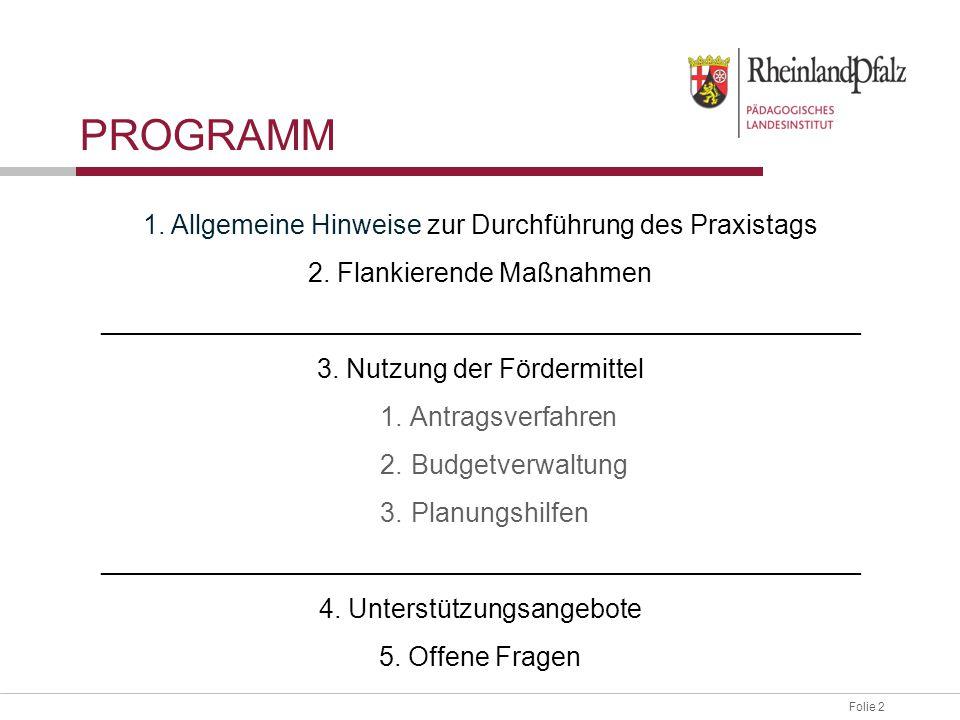 Programm 1. Allgemeine Hinweise zur Durchführung des Praxistags