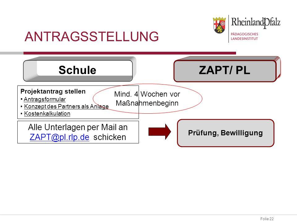 ANTRAGSSTELLUNG Schule ZAPT/ PL