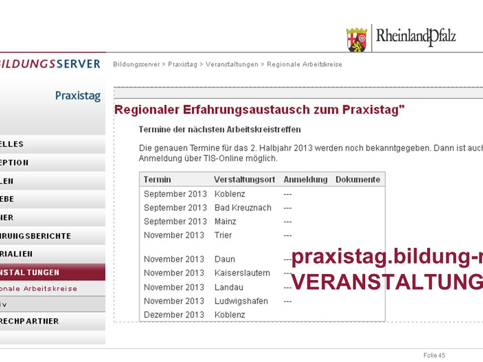 praxistag.bildung-rp.de VERANSTALTUNGEN