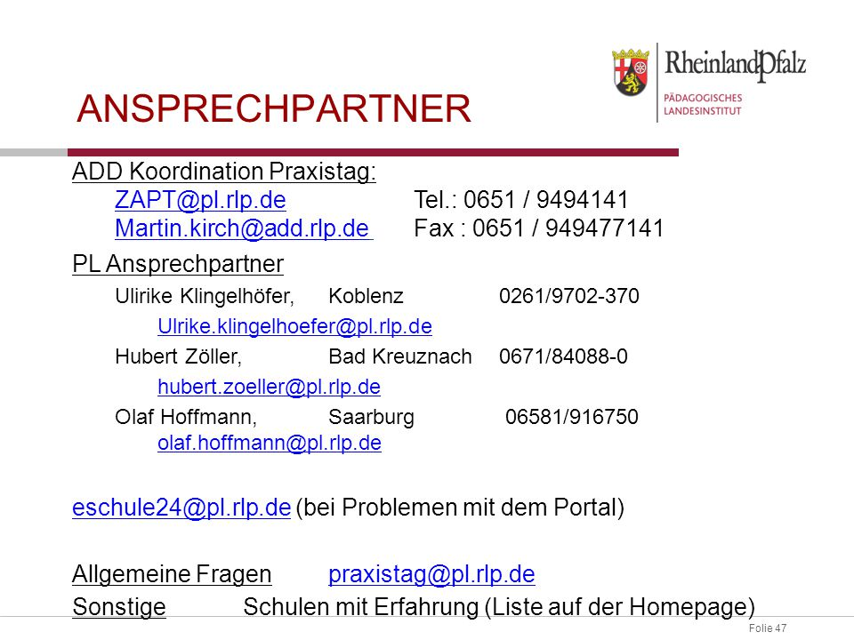 Ansprechpartner ADD Koordination Praxistag: