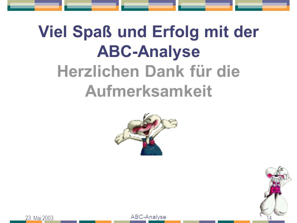 Viel Spaß und Erfolg mit der ABC-Analyse Herzlichen Dank für die Aufmerksamkeit