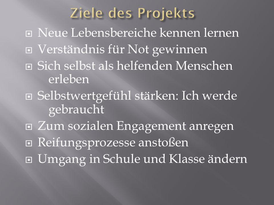 Ziele des Projekts Neue Lebensbereiche kennen lernen